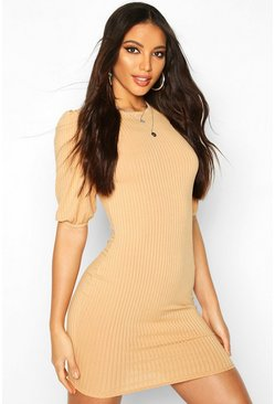 Jumbo Rib Puff Shoulder Mini Dress, Camel, MUJER