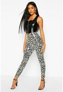 Black Mono Leopard Vinyl Highwaist Leggings