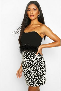 Black Mono Leopard Vinyl Mini Skirt