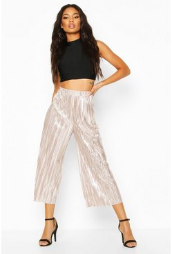 Rose gold Metallic Plisse Culottes