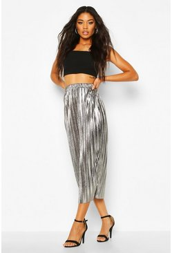 Womens Silver Metallic Plisse Midaxi Skirt