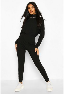 Jumbo Rib High Neck Jumpsuit, Black