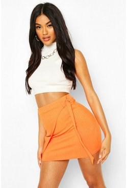 Orange Wrap Buckle Detail Rib Mini Skirt