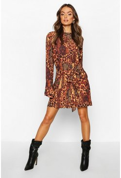 Brown Animal Print Belted Shift Dress