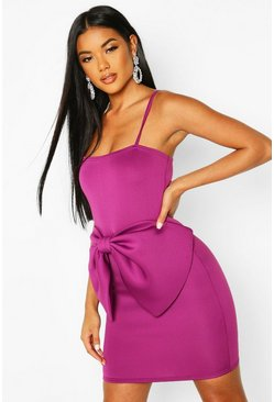 Womens Purple Strappy Bow Detail Mini Bodycon Dress