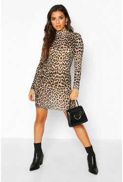 Brown Leopard Roll Neck Long Sleeve Bodycon Mini Dress