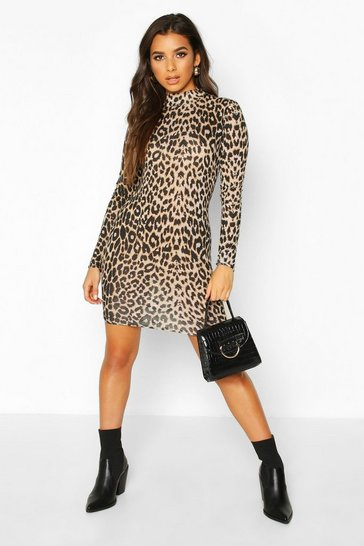 Womens Brown Leopard Roll Neck Long Sleeve Bodycon Mini Dress