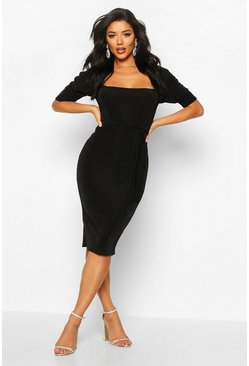 Womens Black Textured Slinky Puff Sleeve Belted Midi Dress