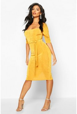 Mustard Textured Slinky Puff Sleeve Belted Midi Dress
