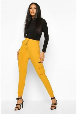 Dam Mustard Cargo Pants With Pocket And Zip Feature