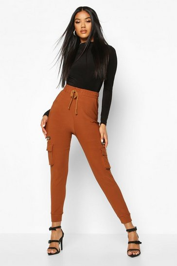 Womens Tan Cargo Pants With Pocket And Zip Feature