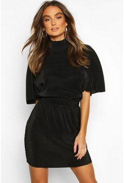 Black Plisse High Neck Mini Dress