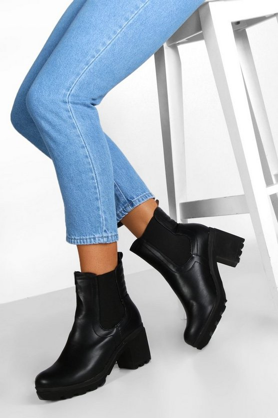Womens Black Block Heel Chunky Chelsea Boots