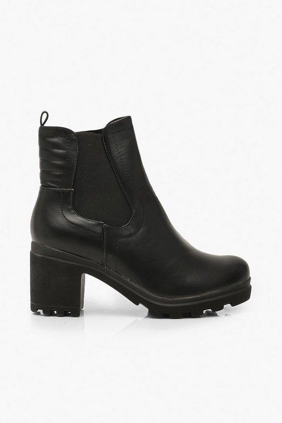 Block Heel Chunky Chelsea Boots