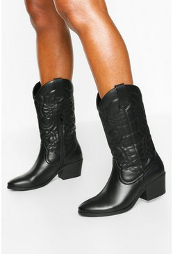 Black Knee High Western Boots