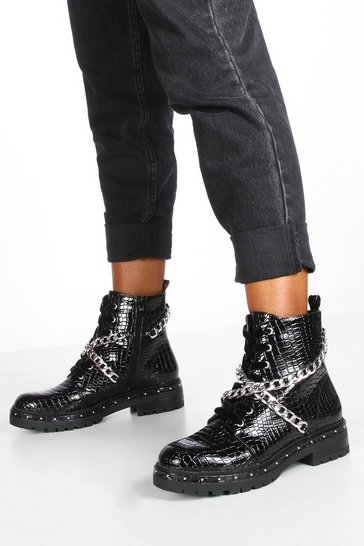 Black Chain Strap Hiker Boots