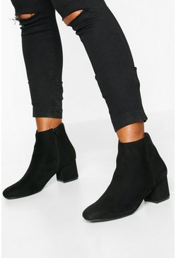 Womens Black Low Block Heel Shoe Boots