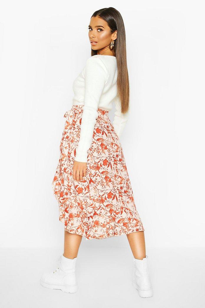 Fall Flowers Ruffle Hem Midi Skirt