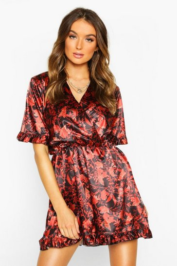 Womens Black Autumnal Floral Ruffle Playsuit