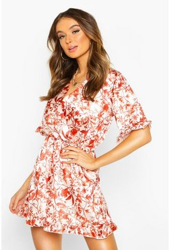 Womens Terracotta Autumnal Floral Ruffle Playsuit