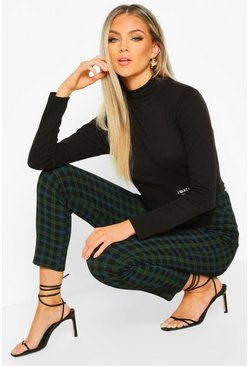 Green Tartan Check Stretch Skinny Pants