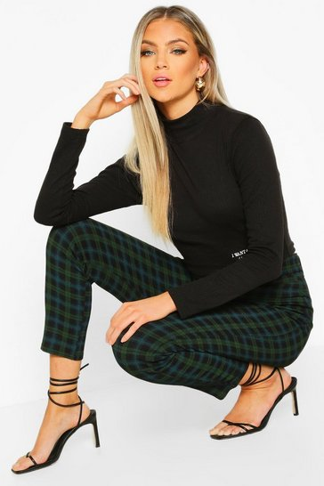 Womens Green Tartan Check Stretch Skinny Trousers