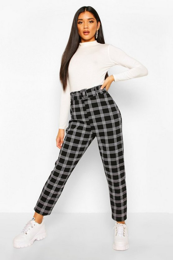 Black Belted Dogtooth Check Stretch Skinny Pants
