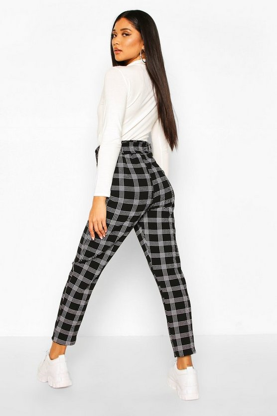 Belted Dogtooth Check Stretch Skinny Trousers