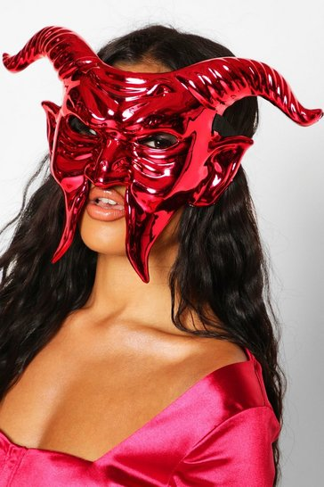 Womens Red Halloween Devil Face Mask