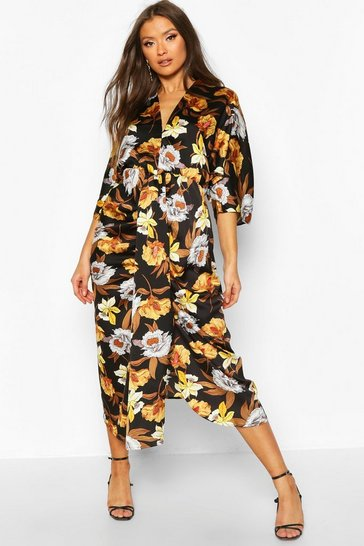 Black Satin Floral Batwing Midaxi Dress