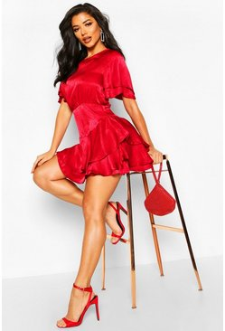 Womens Dark red Satin Frill Sleeve Skater Dress