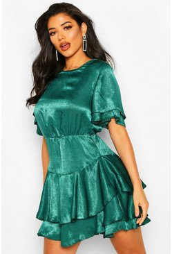Emerald Satin Frill Sleeve Skater Dress