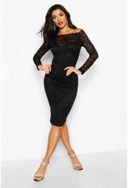 Black Slash Neck Lace Midi Bodycon Dress
