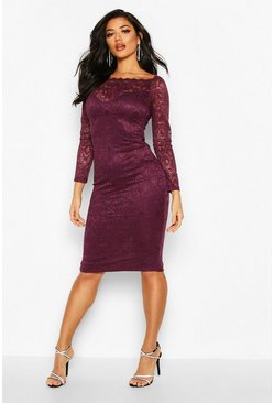 Womens Plum Slash Neck Lace Midi Bodycon Dress