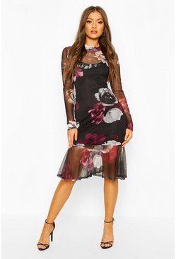 Womens Black High Neck Floral Mesh Frill Hem Midi Dress