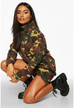 Khaki Camo High Neck Sweatshirt Dress
