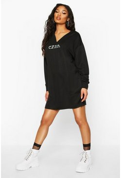 Womens Black V-neck Embroidered Sweatshirt Dress