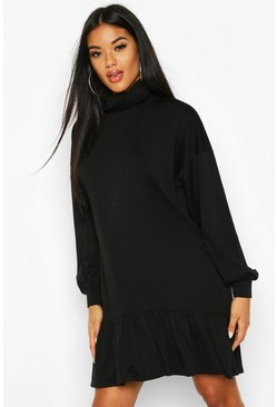 Womens Black Roll Neck Drop Hem Sweatshirt Dress