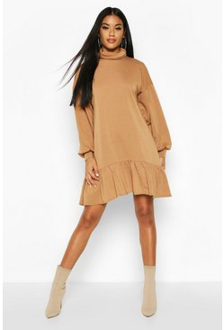 Womens Camel Roll Neck Drop Hem Sweatshirt Dress