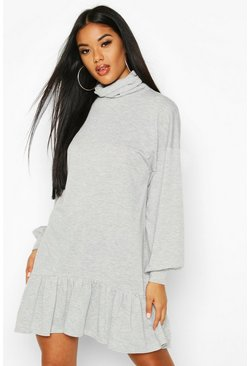 Grey Turtleneck Drop Hem Sweatshirt Dress