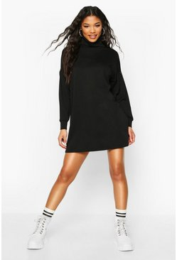 Womens Black Roll Neck Slouchy Sweatshirt Dress