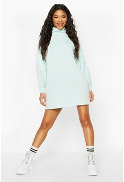 Sage Roll Neck Slouchy Sweatshirt Dress