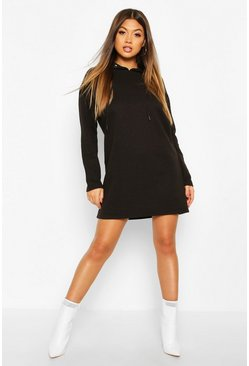 Black Hooded Rib Sweatshirt Dress