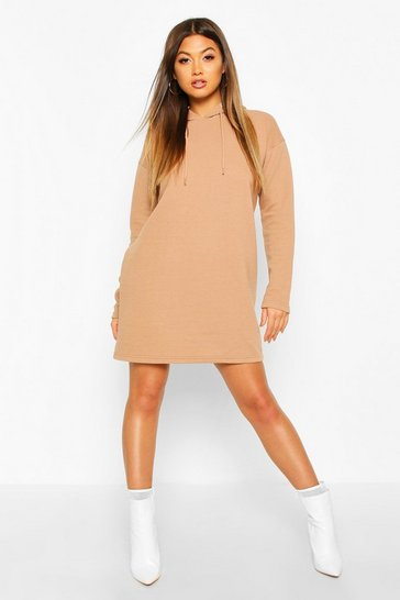 Camel Hooded Rib Sweatshirt Dress
