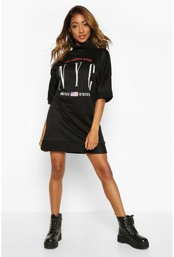 Womens Black Slogan 3/4 Sleeve Roll Neck Sweatshirt Dress