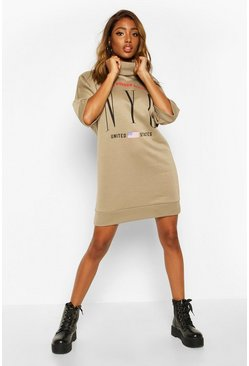 Womens Khaki Slogan 3/4 Sleeve Roll Neck Sweatshirt Dress