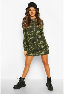 Womens Khaki Camo Long Sleeve T-shirt Dress