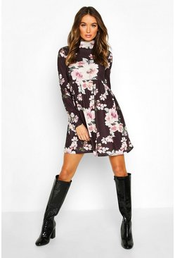 Black Funnel Neck Floral Jersey Smock Dress