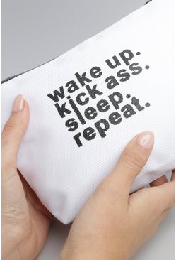 Wake Up Slogan Canvas Makeup Bag, White, MUJER