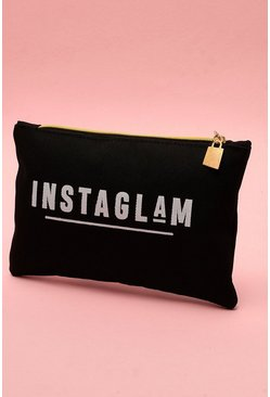Womens Black Instaglam Canvas Makeup Bag